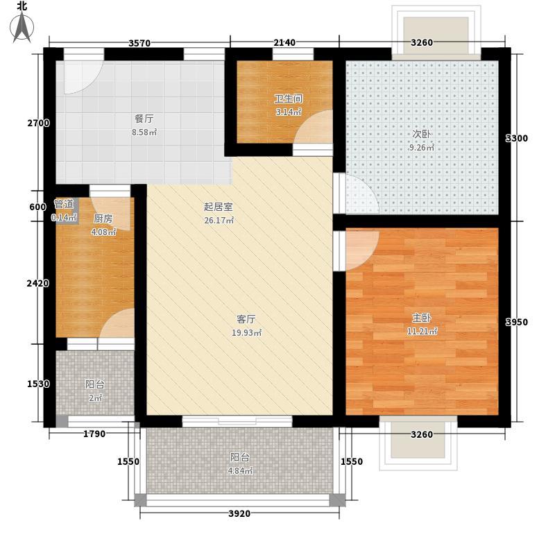 北湖印象74.50㎡3期C1型户型2室2厅1卫1厨