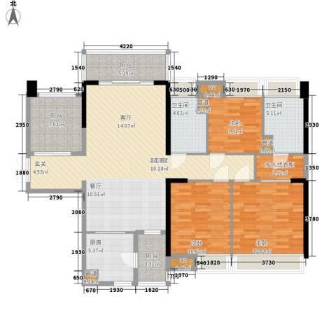 保利西雅图3室0厅2卫1厨121.00㎡户型图