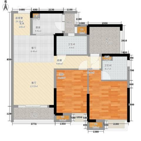 保利西雅图2室0厅2卫1厨93.00㎡户型图