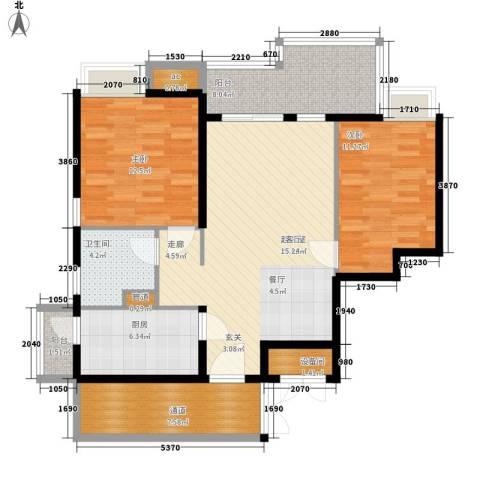 保利西雅图2室0厅1卫1厨93.00㎡户型图