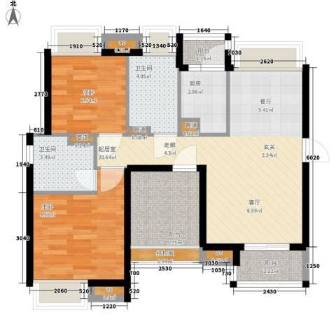 保利西雅图2室0厅2卫1厨69.00㎡户型图