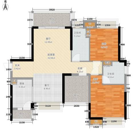 保利西雅图2室0厅2卫1厨100.00㎡户型图