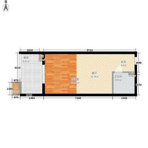 大洋时代国际1卫1厨55.00㎡户型图