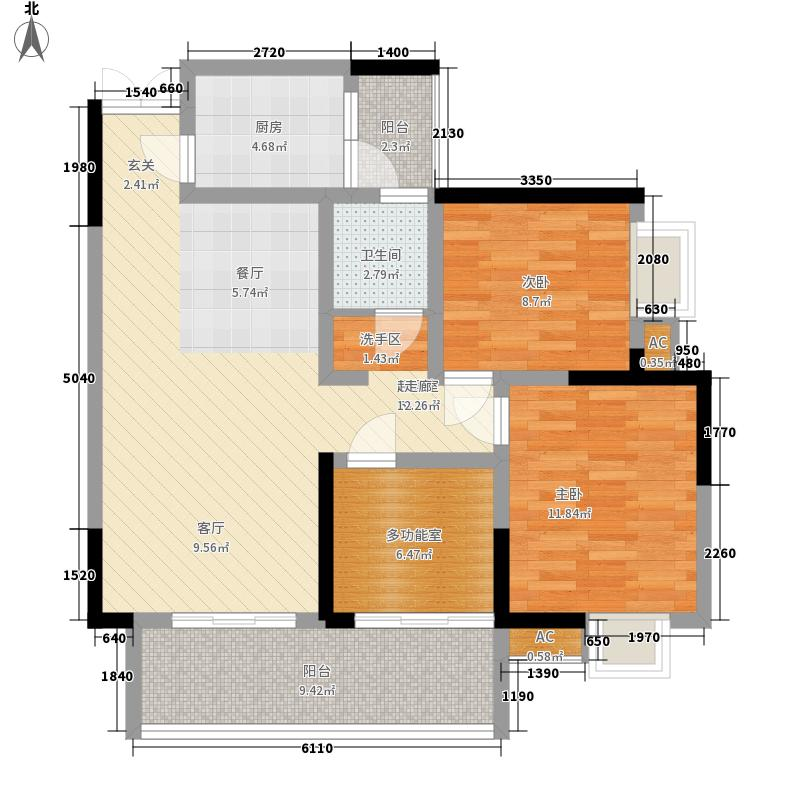 聚龙名城2.43㎡一期1-3号楼E户型3室2厅1卫1厨