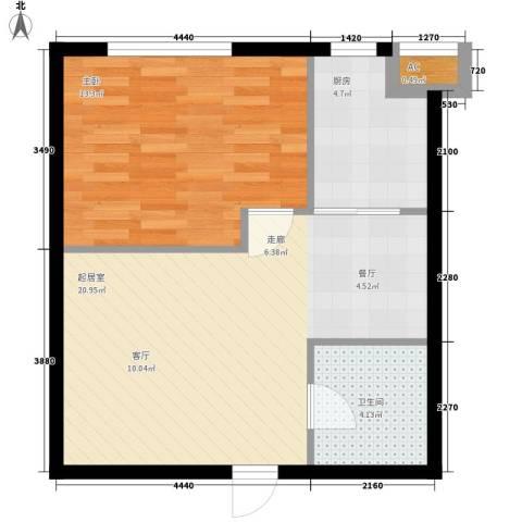 同方世纪大厦1室0厅1卫1厨48.94㎡户型图