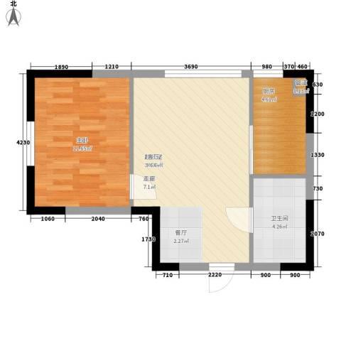 同方世纪大厦1室0厅1卫1厨44.58㎡户型图