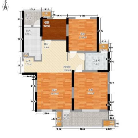 顺城名湾3室0厅1卫1厨107.00㎡户型图