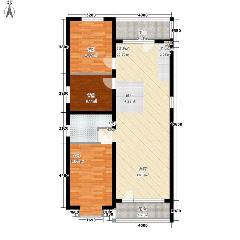 滨洲华府121.00㎡M户型2室2厅2卫1厨