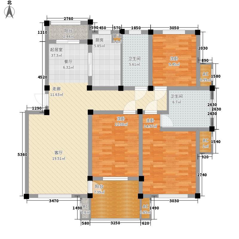 顺城名湾122.46㎡三房户型3室2厅2卫1厨