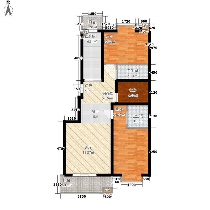 梵谷水郡二期D区2#M户型3室2厅2卫1厨
