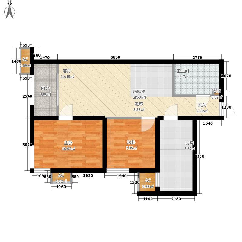 梵谷水郡C区D、D反户型2室2厅1卫1厨