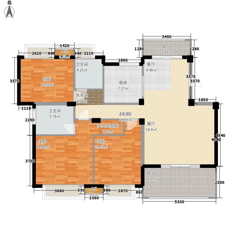 尚海城130.00㎡尚海城户型图13#楼D户型3室2厅2卫1厨户型3室2厅2卫1厨