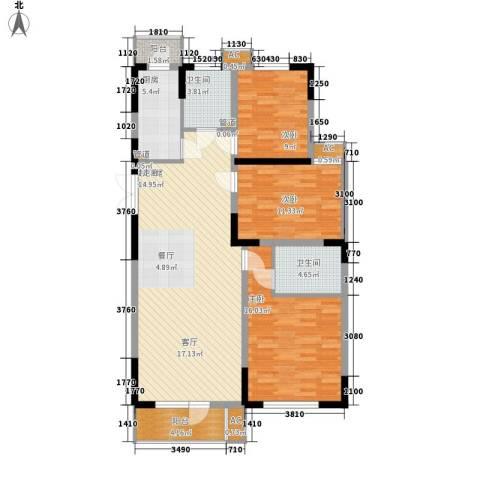 同方广场3室0厅2卫1厨125.00㎡户型图