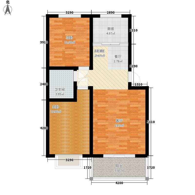 平安先河东苑3.00㎡B户型2室2厅1卫1厨