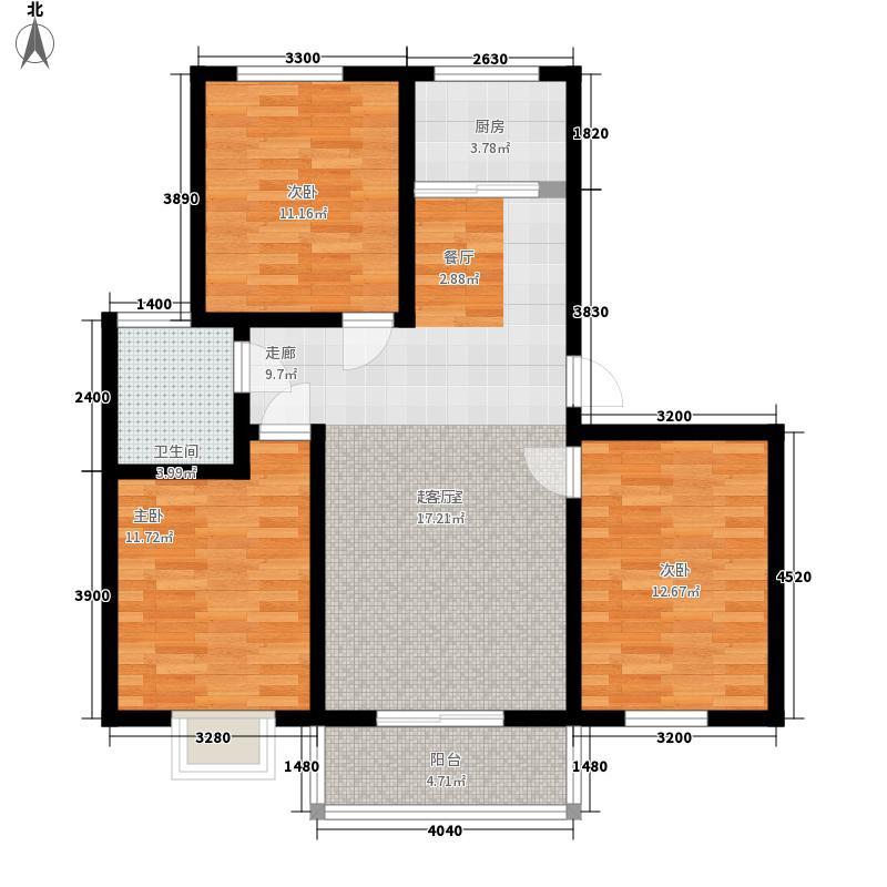 平安先河东苑11.00㎡A户型3室2厅1卫1厨