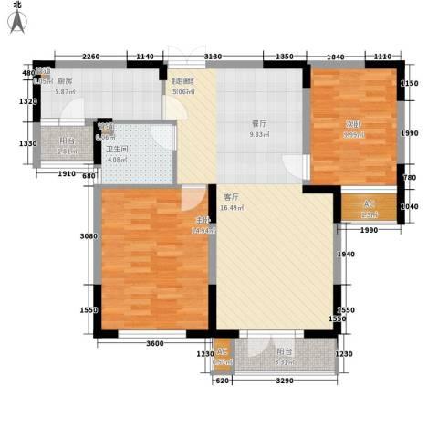 同方广场2室0厅1卫1厨94.00㎡户型图