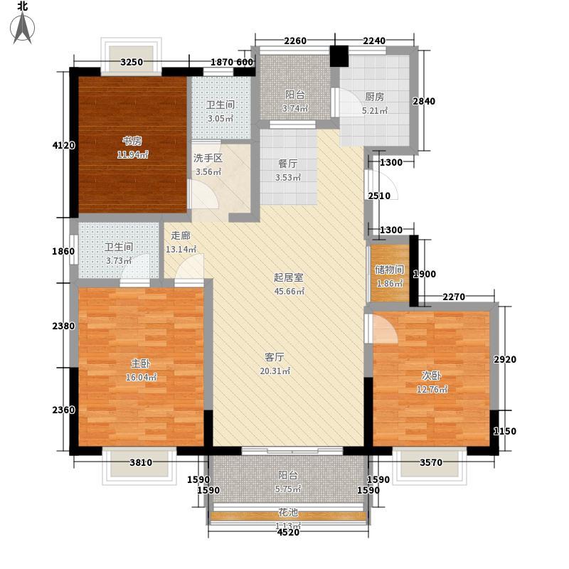 明瑞花园121.64㎡明瑞花园户型图一期2号楼E户型3室2厅2卫户型3室2厅2卫