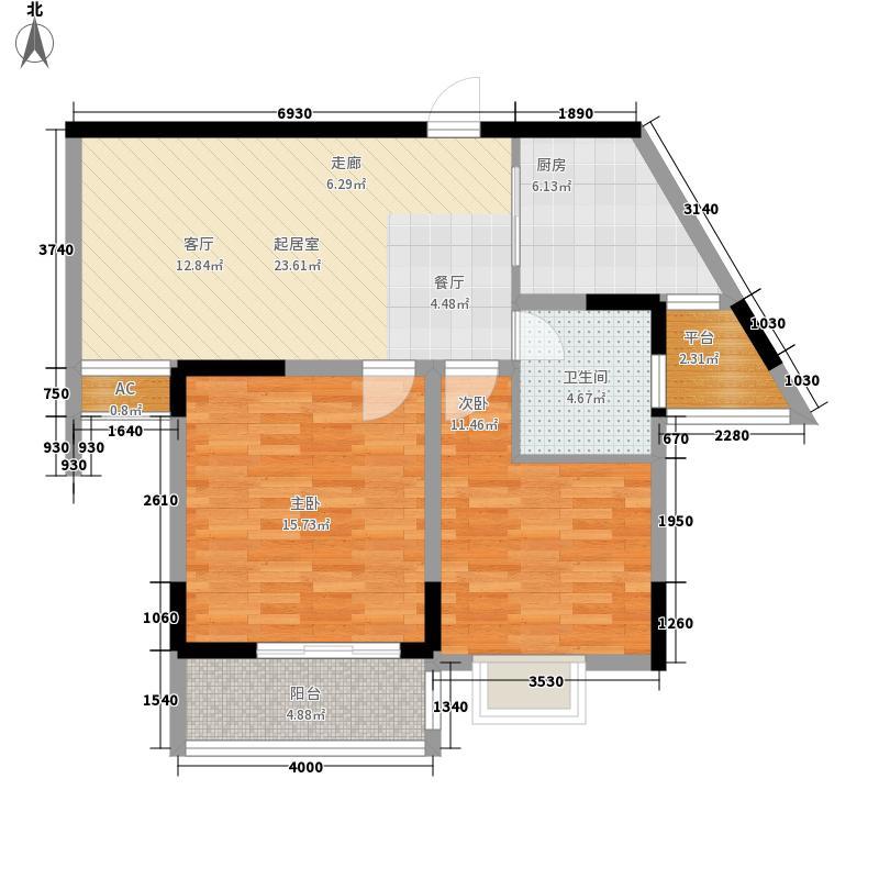 明瑞花园79.86㎡明瑞花园户型图一期1、2、9号楼F户型2室2厅1卫1厨户型2室2厅1卫1厨