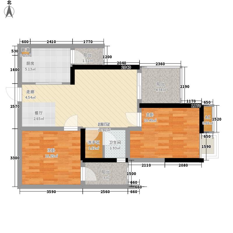 国盛三千城61.28㎡一期2号楼3\8号房标准层户型