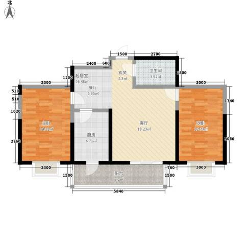 虹畔馨苑2室0厅1卫1厨101.00㎡户型图