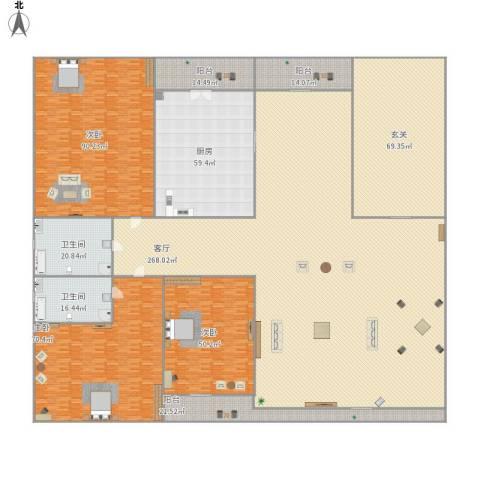 尚品华府3室1厅2卫1厨897.00㎡户型图