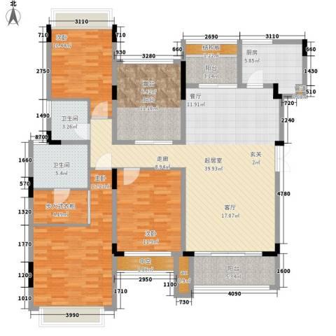 中航城3室0厅2卫1厨136.00㎡户型图