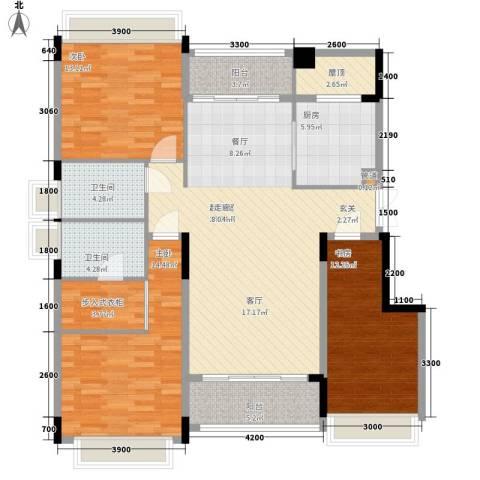 中航城3室0厅2卫1厨128.00㎡户型图