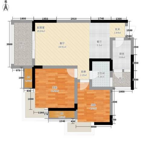 南源居2室0厅1卫1厨65.00㎡户型图