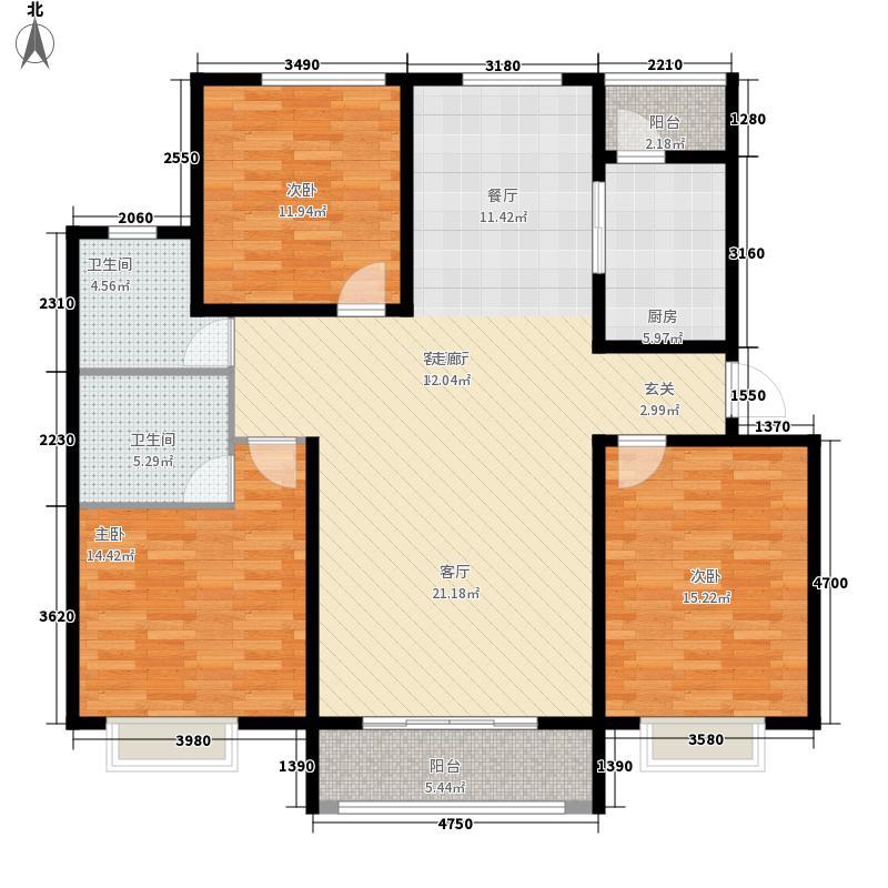 盛世・龙凤花苑D3户型 3室2厅1卫1厨 126.94㎡