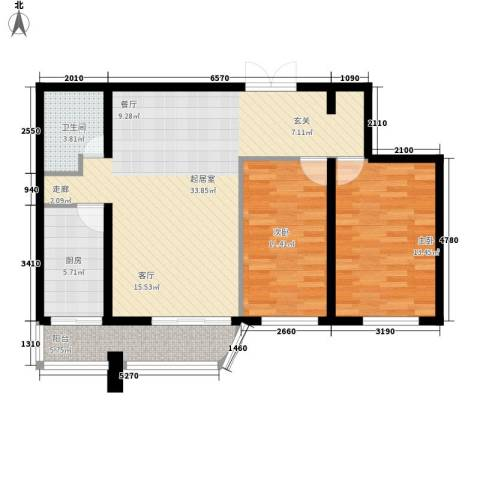 中央经典2室0厅1卫1厨84.00㎡户型图