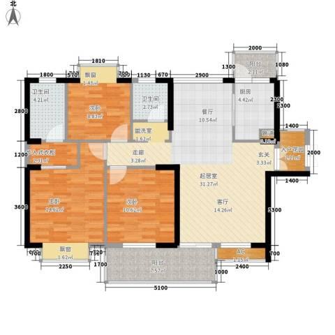 天天向上3室0厅2卫1厨114.00㎡户型图