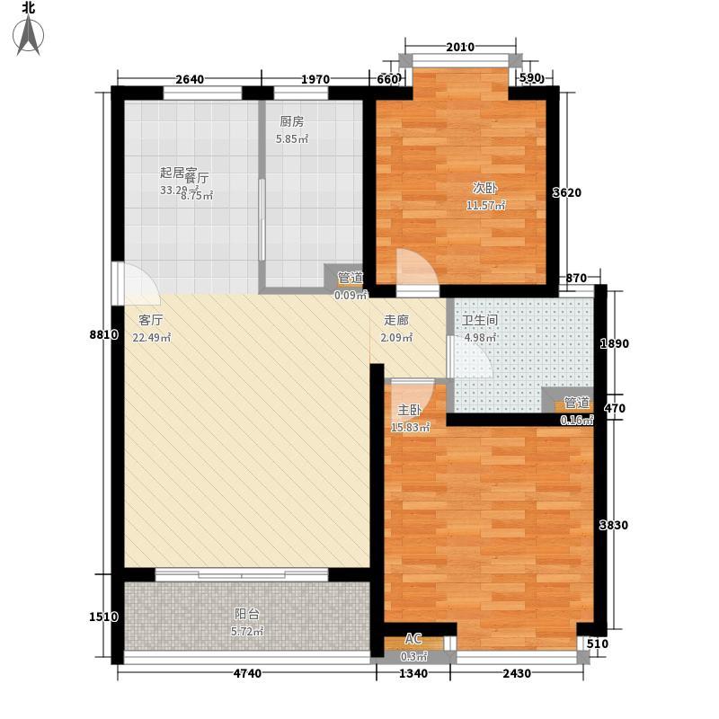 绿地诺丁山91.59㎡B3户型2室2厅1卫