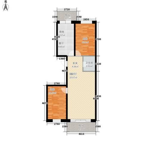 江畔方元2室1厅1卫1厨111.00㎡户型图