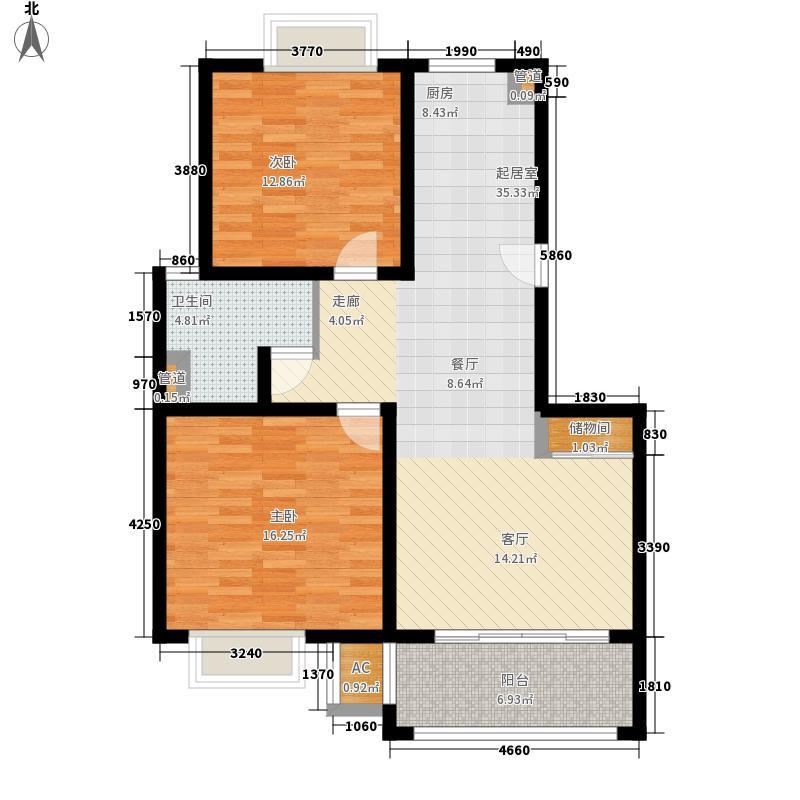 绿地诺丁山户型图B2户型 2室2厅1卫