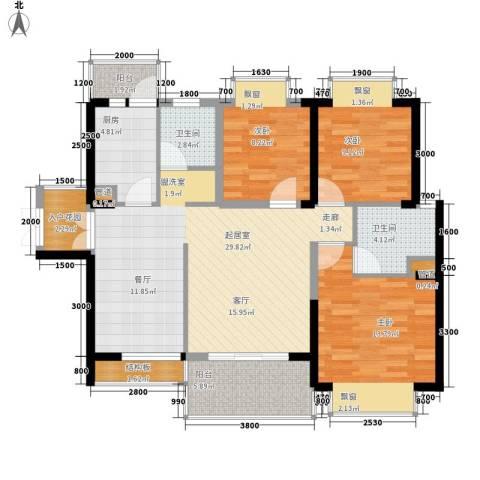 天天向上3室0厅2卫1厨106.00㎡户型图