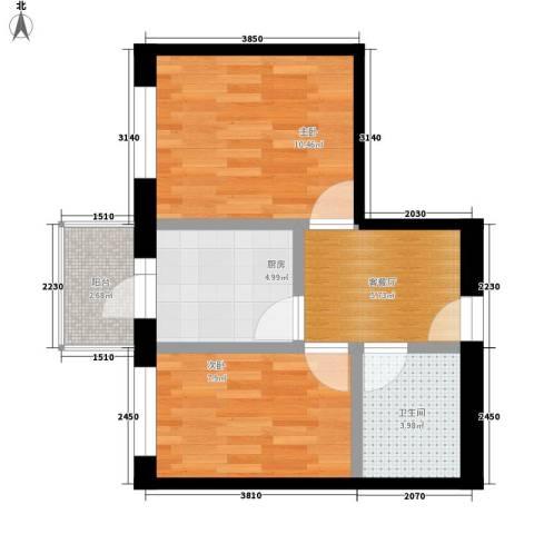江畔方元2室1厅1卫1厨54.00㎡户型图