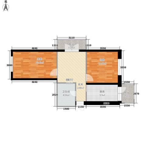 江畔方元2室1厅1卫1厨82.00㎡户型图