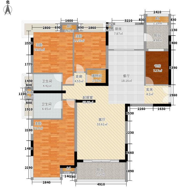 合生湖山国际180.00㎡新塘维也纳山林二期B5栋02单位户型3室2厅