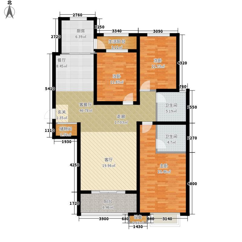 铂宫时代138.82㎡12#C户型3室2厅