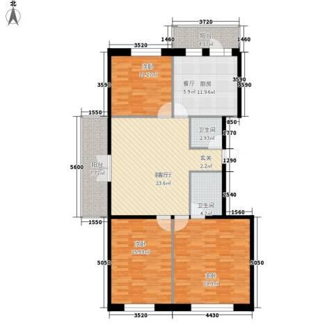 江畔方元3室1厅2卫1厨142.00㎡户型图
