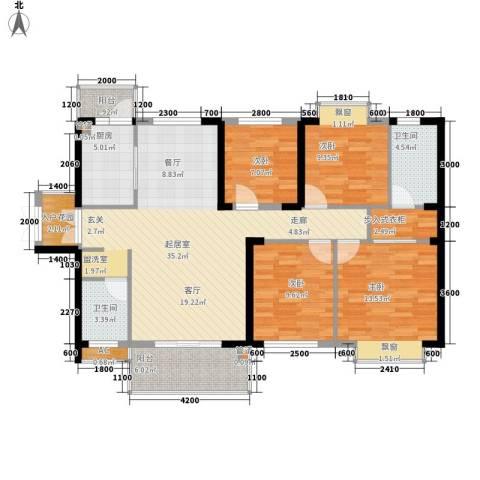 天天向上4室0厅2卫1厨130.00㎡户型图