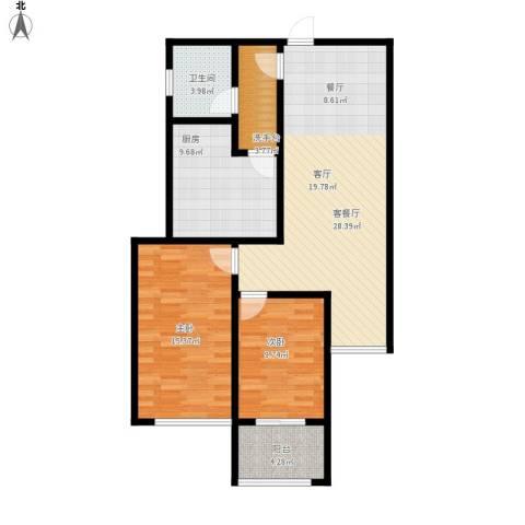北京自在城2室1厅1卫1厨106.00㎡户型图