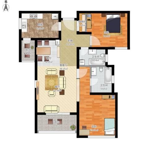 柏丽华庭2室1厅2卫1厨144.00㎡户型图