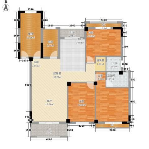 尊德天城3室0厅2卫1厨125.00㎡户型图