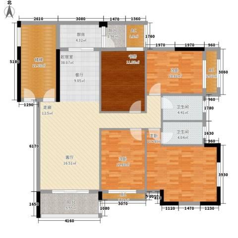 尊德天城4室0厅2卫1厨127.44㎡户型图