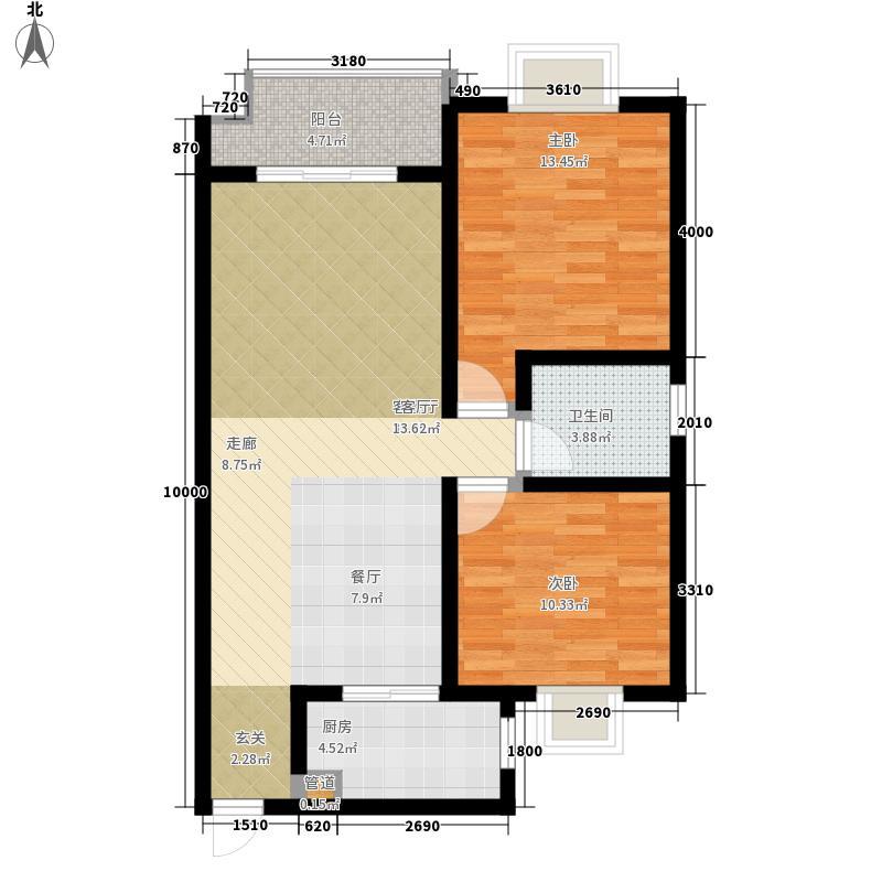楠雅阁82.64㎡A2型户型2室2厅1卫1厨