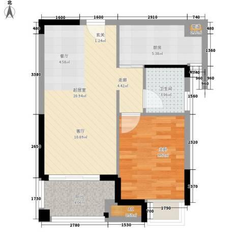 融科东南海二期1室0厅1卫1厨59.00㎡户型图