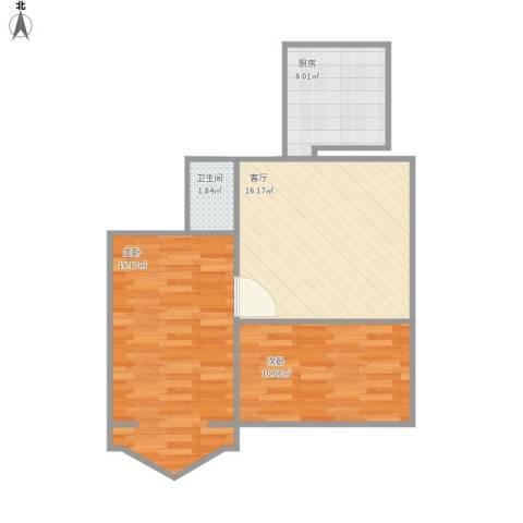西坝河东里2室1厅1卫1厨68.00㎡户型图