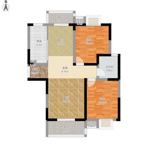 广厦水岸东方2室1厅1卫1厨112.00㎡户型图