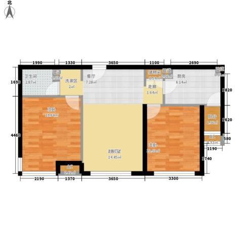 桃源山庄2室0厅1卫1厨87.00㎡户型图
